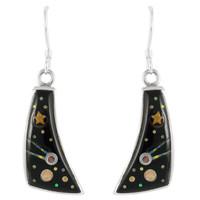 Sterling Silver Earrings Black & Opal E1154-C27