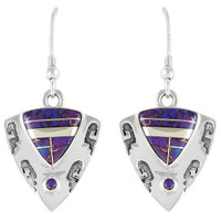 Sterling Silver Earrings Purple Turquoise E1156-C07