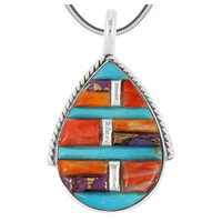 Sterling Silver Pendant Multi Gemstone P3075-C51