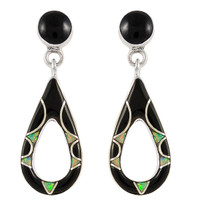 Sterling Silver Earrings Black & Opal E1014-C27