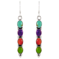 Sterling Silver Earrings Multi Gemstones E1174-C71