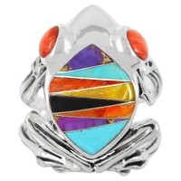Sterling Silver Frog Ring Multi Gemstone R2266-C01