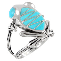 Frog Ring Sterling Silver Turquoise R2266-C05