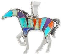 "Sterling Silver Horse 2"" Pendant Multi Gemstone P3049-LG-C01 (Larger Size)"