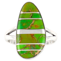 Green Turquoise Ring Sterling Silver R2027-C06