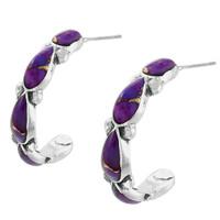 Sterling Silver Hoop Earrings Purple Turquoise E1098-C77