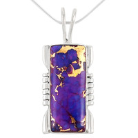 Sterling Silver Pendant Purple Turquoise P3044-C77