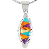 Sterling Silver Pendant Multi Gemstone P3097-C01