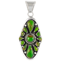 Sterling Silver Pendant Green Turquoise P3116-C76