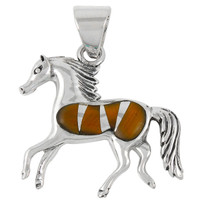 Sterling Silver Horse Pendant Tiger Eye P3002-C18