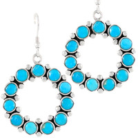 Sterling Silver Flower Earrings Turquoise E1183-C75