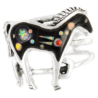 Sterling Silver Horse Ring Black & Opal R2018-C27