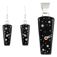 Sterling Silver Pendant & Earrings Set Black & Opal PE4030-C27