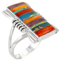 Multi Gemstone Ring Sterling Silver R2017-C00
