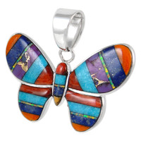 Sterling Silver Butterfly Pendant Multi Gemstone P3146-C01