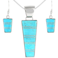Sterling Silver Pendant & Earrings Set Turquoise PE4012-C05