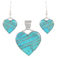 Sterling Silver Heart Pendant & Earrings Set Turquoise PE4041-C05