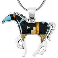 Horse Jewelry Pendant Sterling Silver Multi Gemstone P3049-SM-C04