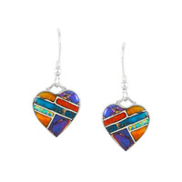 Sterling Silver Heart Earrings Multi Gemstones E1197-C01