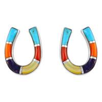 Sterling Silver Horse Shoe Earrings Multi Gemstones E1202-C01