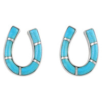 Sterling Silver Horse Shoe Earrings Turquoise E1202-C05