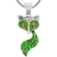 Sterling Silver Fox Pendant Green Turquoise P3160-C06