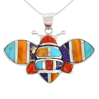 Sterling Silver Bee Pendant Multi Gemstone P3156-C01-SM