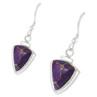 Sterling Silver Earrings Purple Turquoise E1212-C77