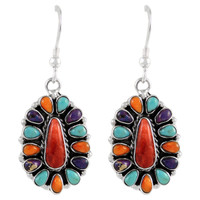 Sterling Silver Earrings Multi Gemstones E1034-C71