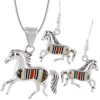 Sterling Silver Horse Pendant & Earrings Set Multi Gemstones PE4007-C45