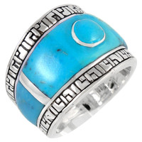 Sterling Silver Statement Ring Turquoise R2391-C75