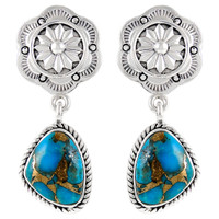 Sterling Silver Earrings Matrix Turquoise E1220-C84