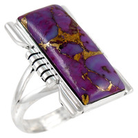 Sterling Silver Ring Purple Turquoise R2017-C77