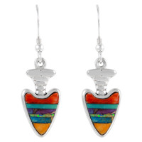 Sterling Silver Arrowhead Earrings Multi Gemstones E1226-C01