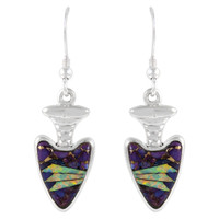 Sterling Silver Arrowhead Earrings Purple Turquoise E1226-C23