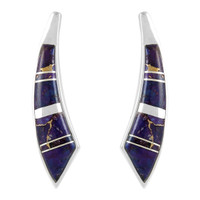 Sterling Silver Earrings Purple Turquoise E1223-C07