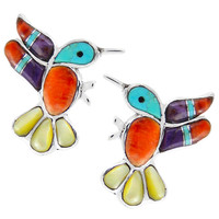 Sterling Silver Hummingbird Earrings Multi Gemstones E1188-C01