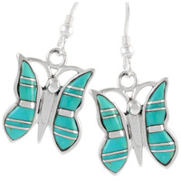 Sterling Silver Butterfly Earrings Turquoise E1089-C05