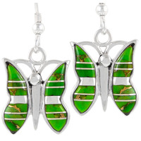 Sterling Silver Butterfly Earrings Green Turquoise E1089-C06