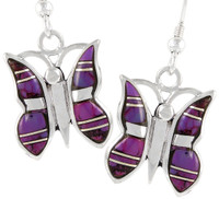 Sterling Silver Butterfly Earrings Purple Turquoise E1089-C07
