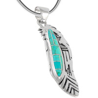 Sterling Silver Feather Pendant Turquoise P3134-C05B