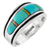 Sterling Silver Mens or Ladys Ring Turquoise R2024-C21