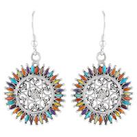 Sterling Silver Flower Earrings Multi Gemstone E1138-C71