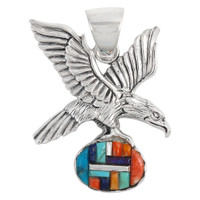 Sterling Silver Eagle Pendant Multi Gemstones P3181-C51