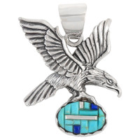 Sterling Silver Eagle Pendant Turquoise P3181-C55