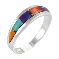 Sterling Silver Ring Multi Gemstones Turquoise R2264-C01