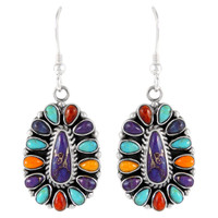 Sterling Silver Earrings Multi Gemstones E1034-C70