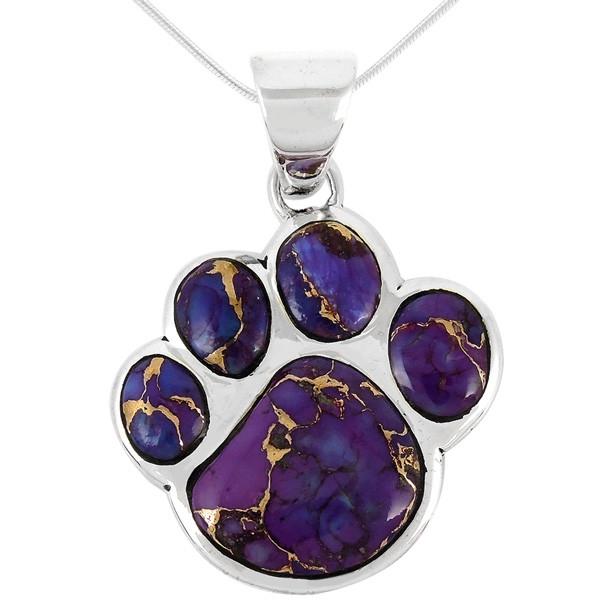 Southwest style pendant sterling silver jewelry sterling silver paw pendant purple turquoise p3178 c77 aloadofball Gallery