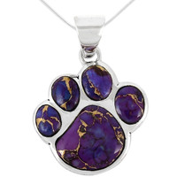 Sterling Silver Paw Pendant Purple Turquoise P3178-C77