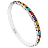 Sterling Silver Bangle Bracelet Multi Gemstone B5529A-C71